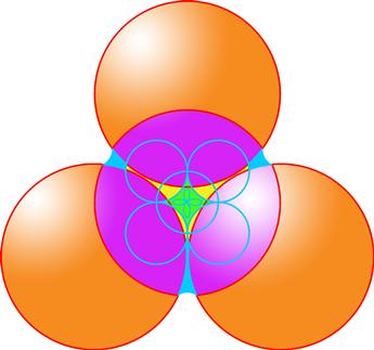 РИС. 1. Схема Полимира четвёртого-пятого измерений.  Напоминаю, что четыре большие сферы символизируют здесь три меры...